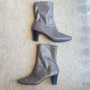 Gray stylish ankle booties